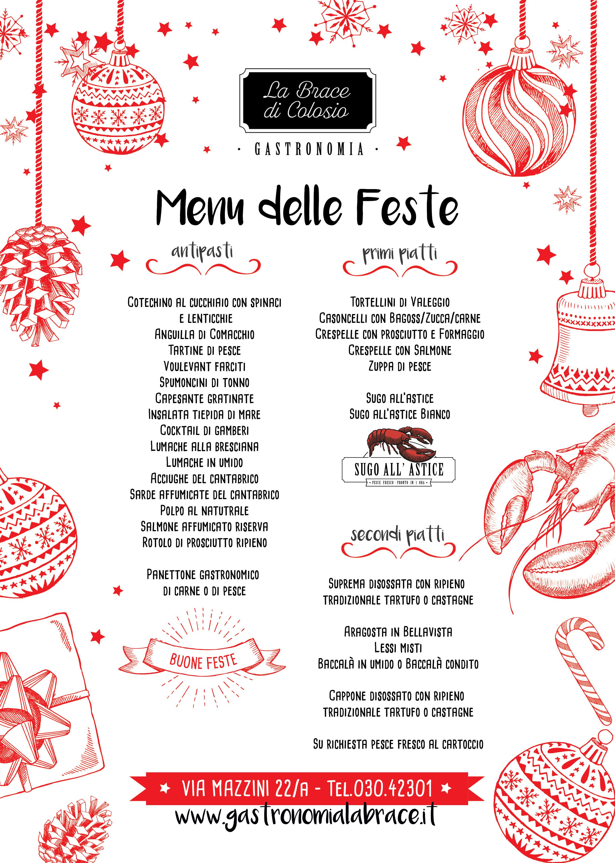 Menu Per Le Feste Di Natale.Gastronomia La Brace Di Colosio Menu Di Natale 2018